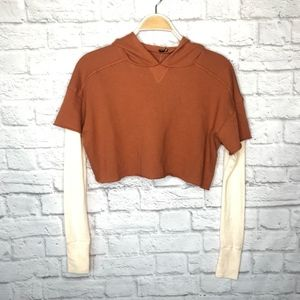 NWT Urban Outfitters rust crop thermal hoodie